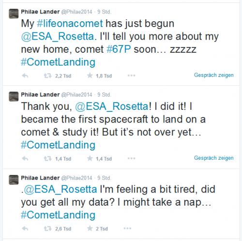 Twitter Feed 15.11.2014 - Philae geht schlafen