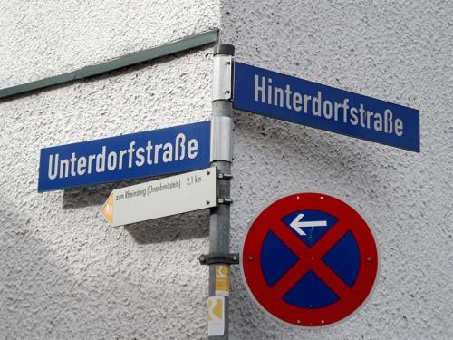 Straßenschilder: Unterdorfstraße - Hinterdorfstraße