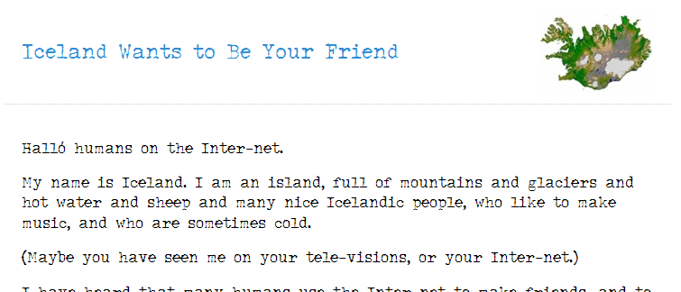 Iceland wants to be your friend